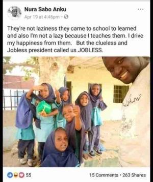 "#LazyNigerianYouths: See How This Teacher ""Murders"" English In Protest Against Buhari (Photo)"